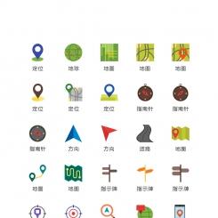 扁平化地图位置图标矢量UI素材icon