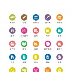 圆形多色学习教育图标矢量UI素材icon
