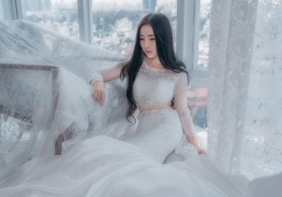 新娘 白色婚纱 5k美女壁纸