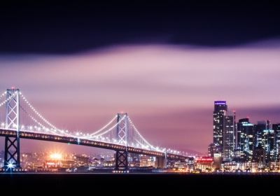 海湾大桥与旧金山摩天大楼城市夜景3440x1440壁纸