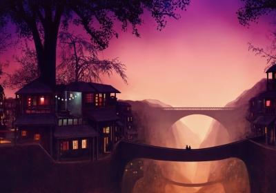 幻想艺术 树 房屋 雾 太阳 桥 唯美梦幻风景4k壁纸