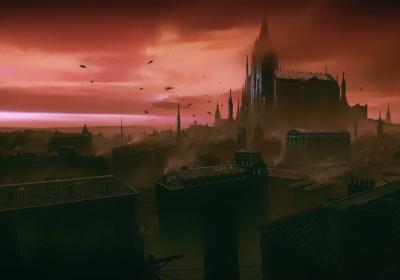 幽暗 哥特式建筑 幻想城市风光4k壁纸