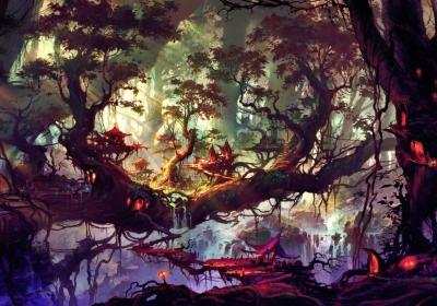 幻想艺术 树风景4k壁纸