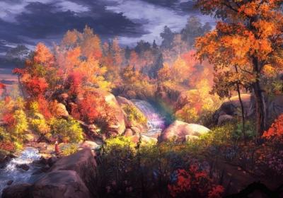 梦幻秋画 树 自然风景 水 小溪瀑布河流 秋天风景4k壁纸