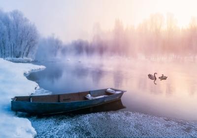 冬天大雪雾凇小河小船天鹅4k风景壁纸